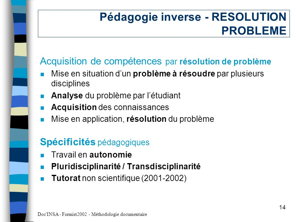 Pédagogie inverse - RESOLUTION PROBLEME