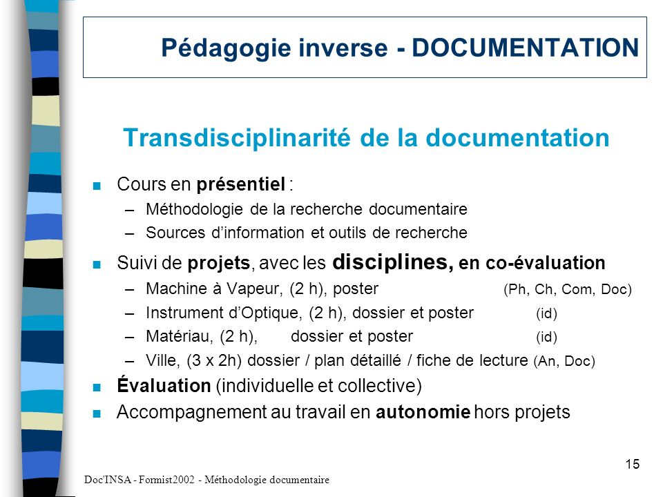 Pédagogie inverse - DOCUMENTATION