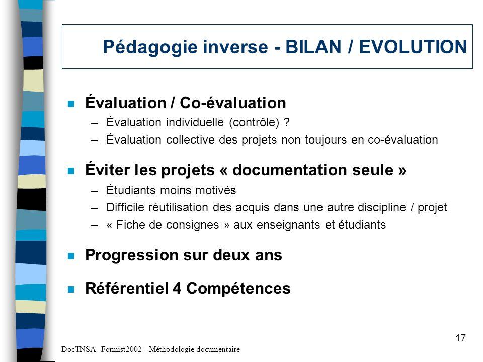 Pédagogie inverse - BILAN / EVOLUTION