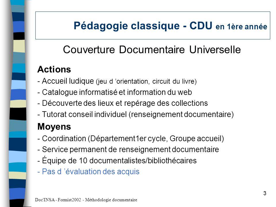 Pédagogie classique - CDU en 1ère année