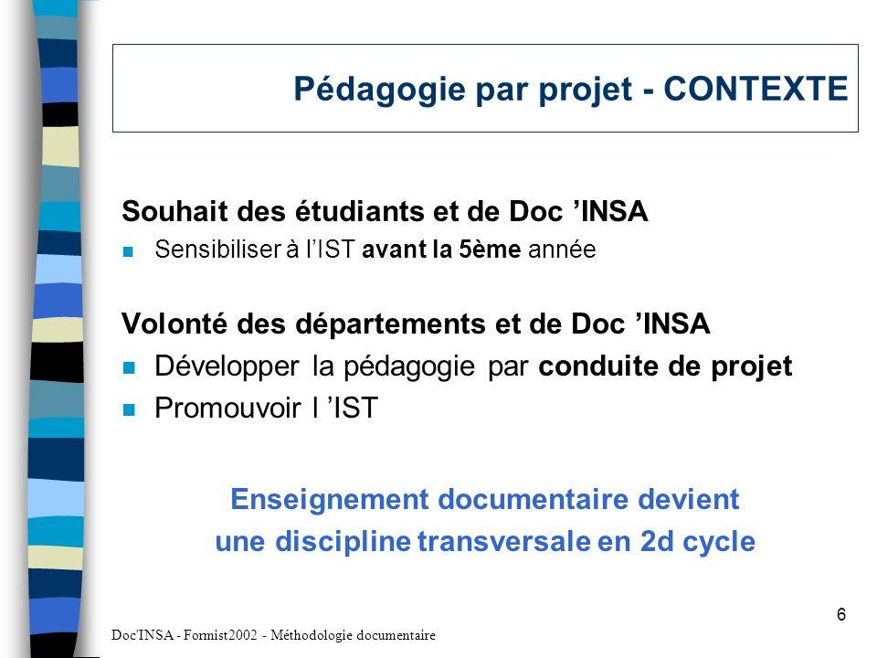 Pédagogie par projet - CONTEXTE