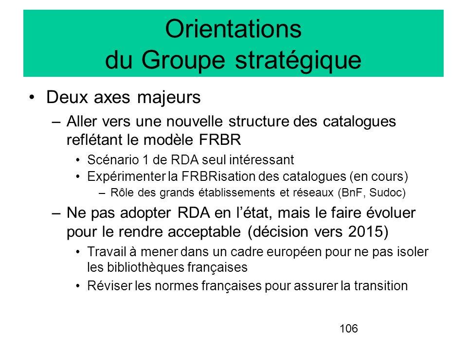 Orientations du Groupe stratégique
