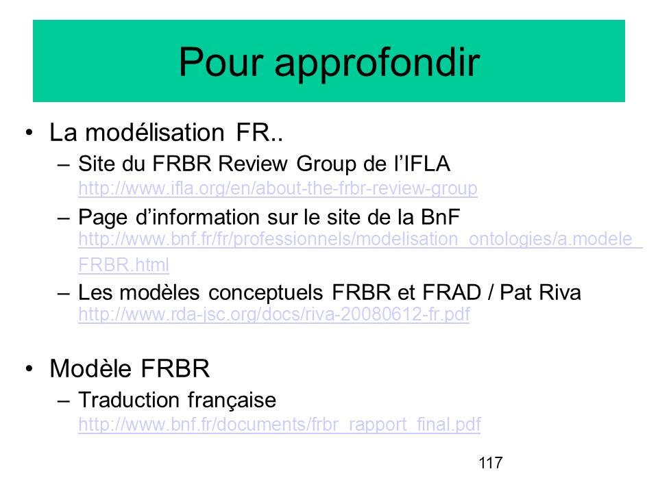 Pour approfondir La modélisation FR.. Modèle FRBR