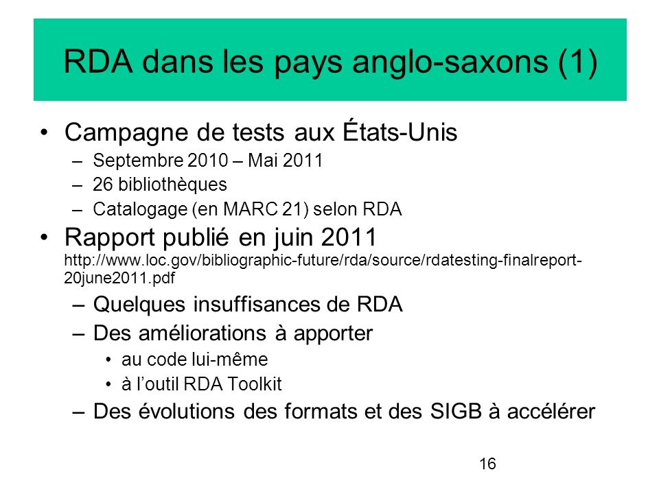 RDA dans les pays anglo-saxons (1)