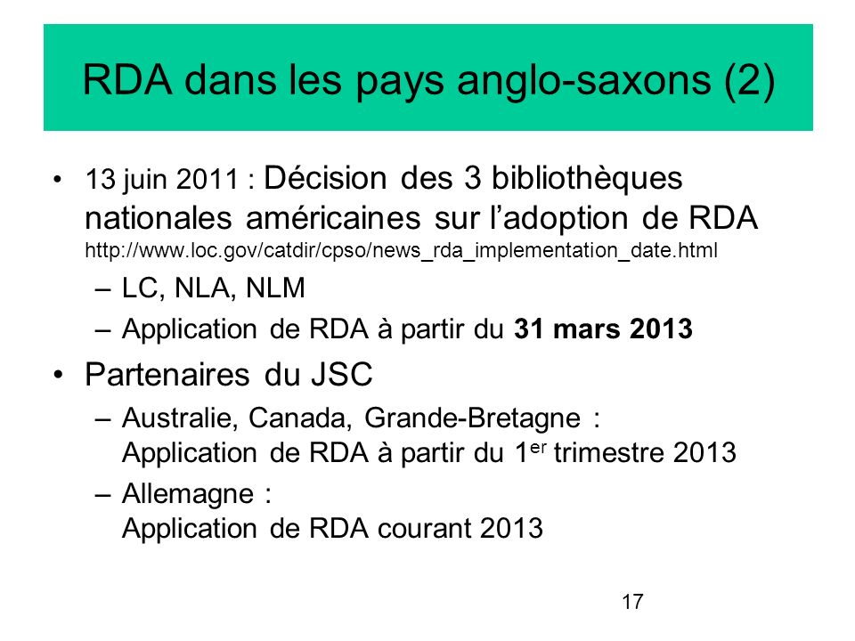 RDA dans les pays anglo-saxons (2)