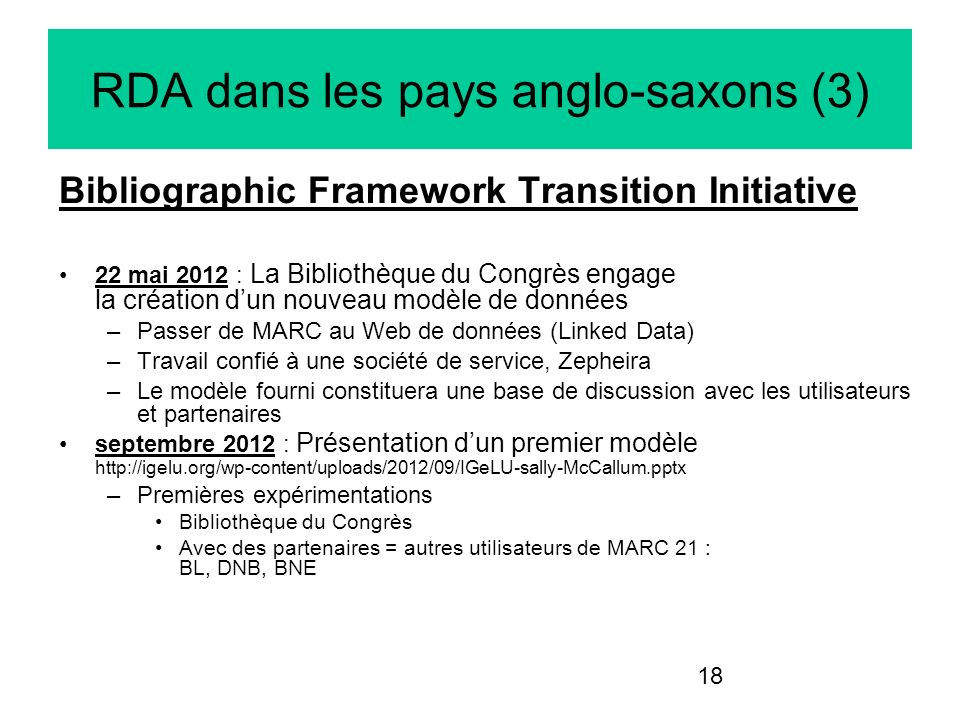 RDA dans les pays anglo-saxons (3)
