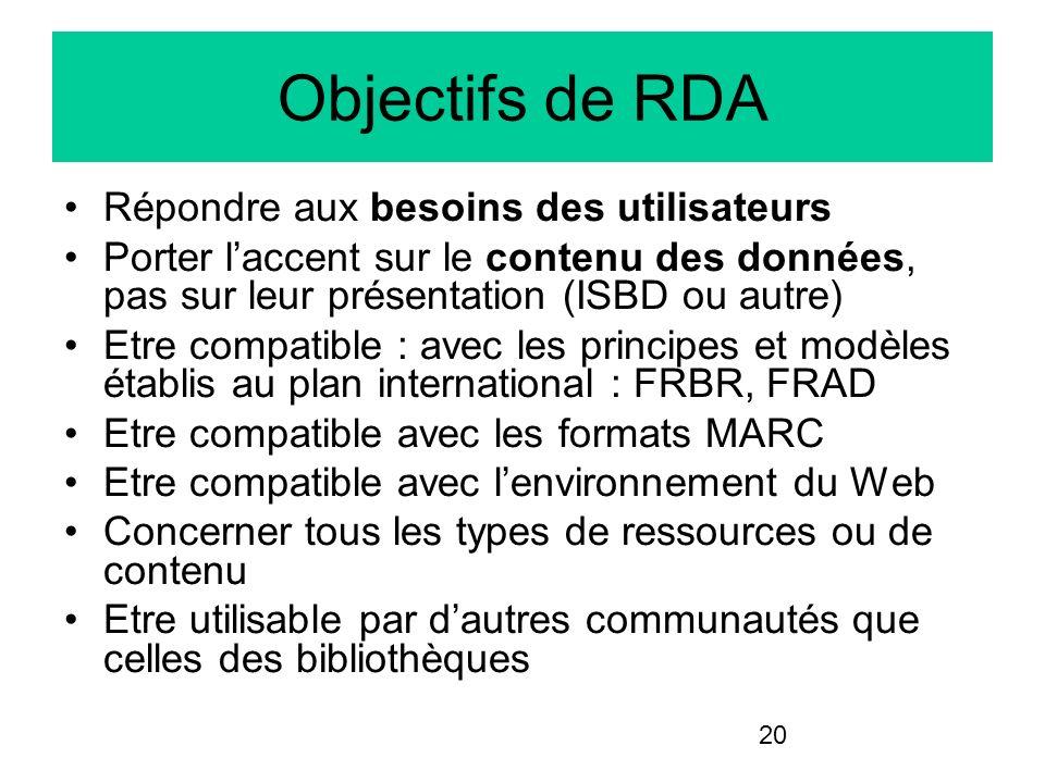Objectifs de RDA Répondre aux besoins des utilisateurs