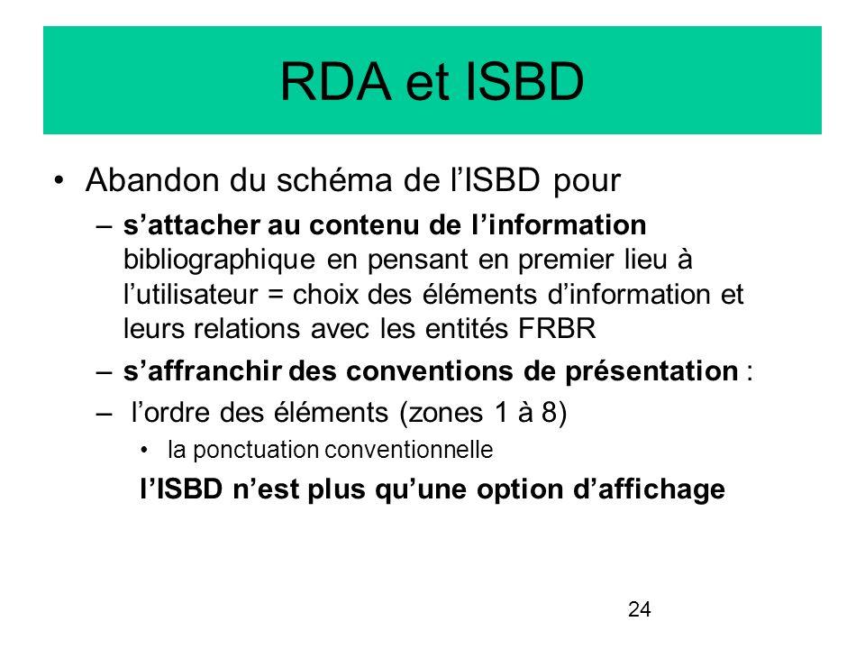 RDA et ISBD Abandon du schéma de l'ISBD pour
