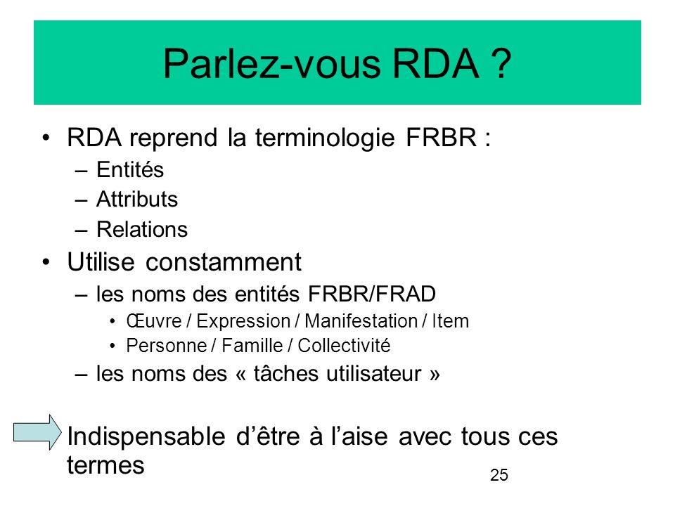 Parlez-vous RDA RDA reprend la terminologie FRBR :