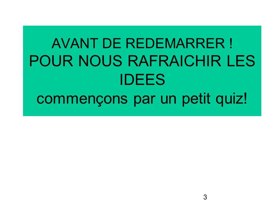 AVANT DE REDEMARRER ! POUR NOUS RAFRAICHIR LES IDEES commençons par un petit quiz!