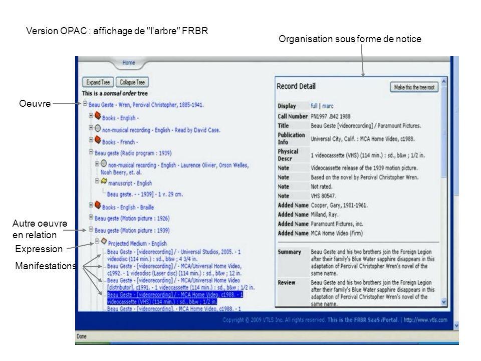 Version OPAC : affichage de l arbre FRBR