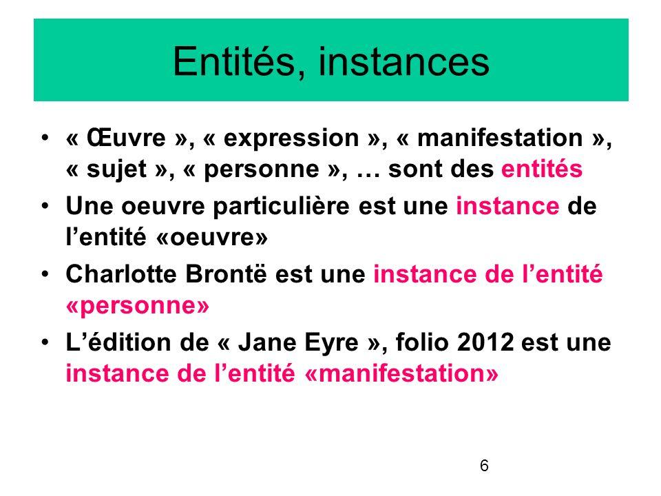Entités, instances « Œuvre », « expression », « manifestation », « sujet », « personne », … sont des entités.