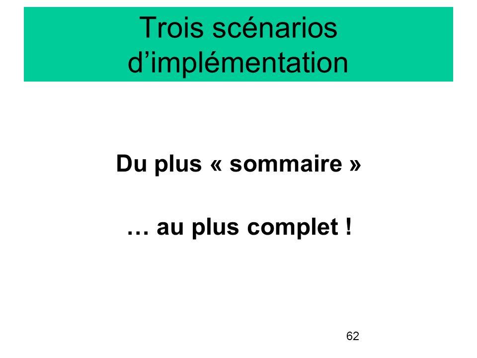 Trois scénarios d'implémentation