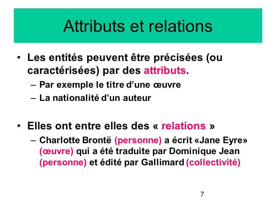 Attributs et relations