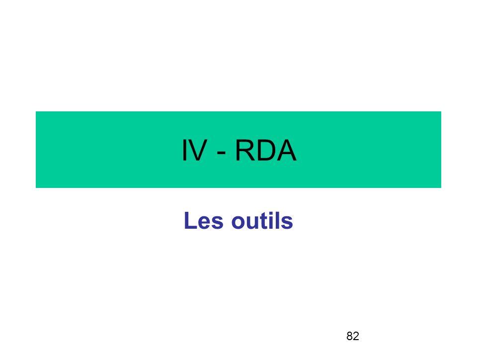 IV - RDA Les outils LA SUITE EST A ALLEGER EN FONCTION DU TEMPS…