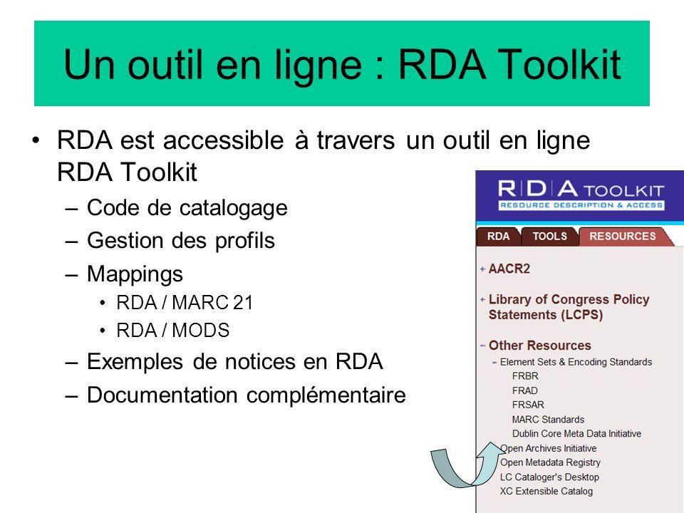 Un outil en ligne : RDA Toolkit
