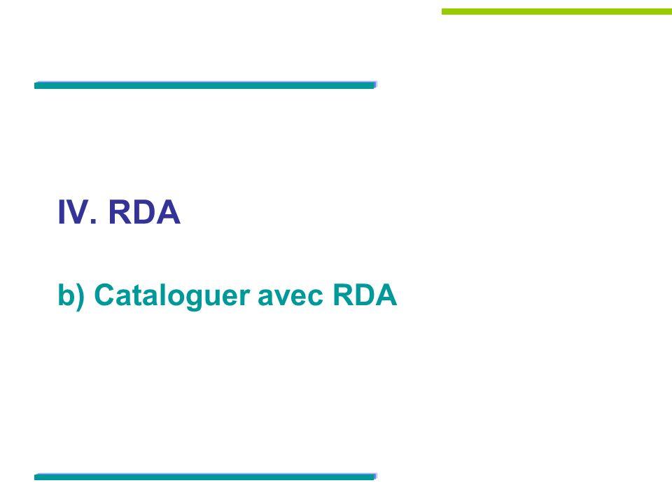 IV. RDA b) Cataloguer avec RDA 15