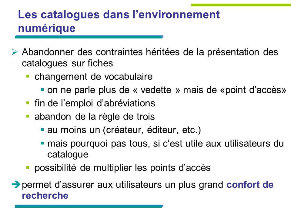 Les catalogues dans l'environnement numérique