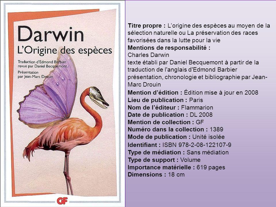 Mentions de responsabilité : Charles Darwin