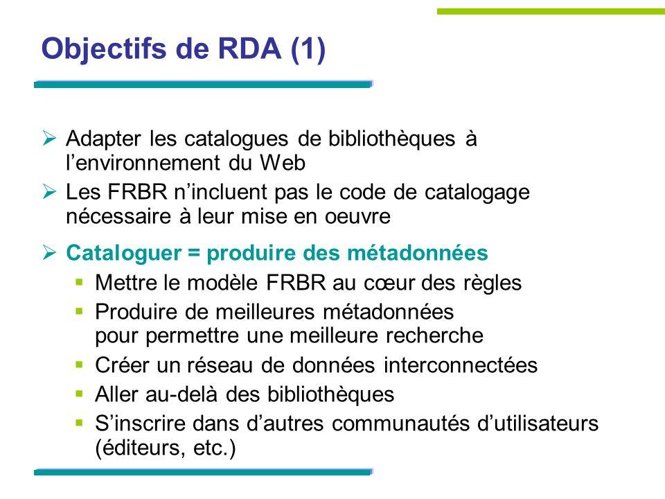 Objectifs de RDA (1) Adapter les catalogues de bibliothèques à l'environnement du Web.