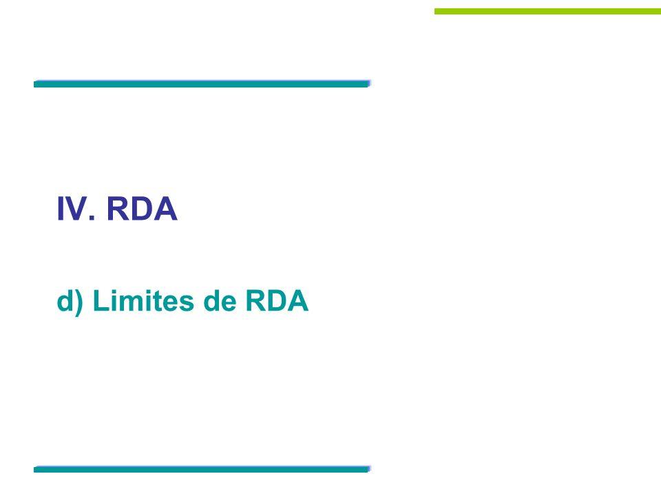 IV. RDA d) Limites de RDA 45