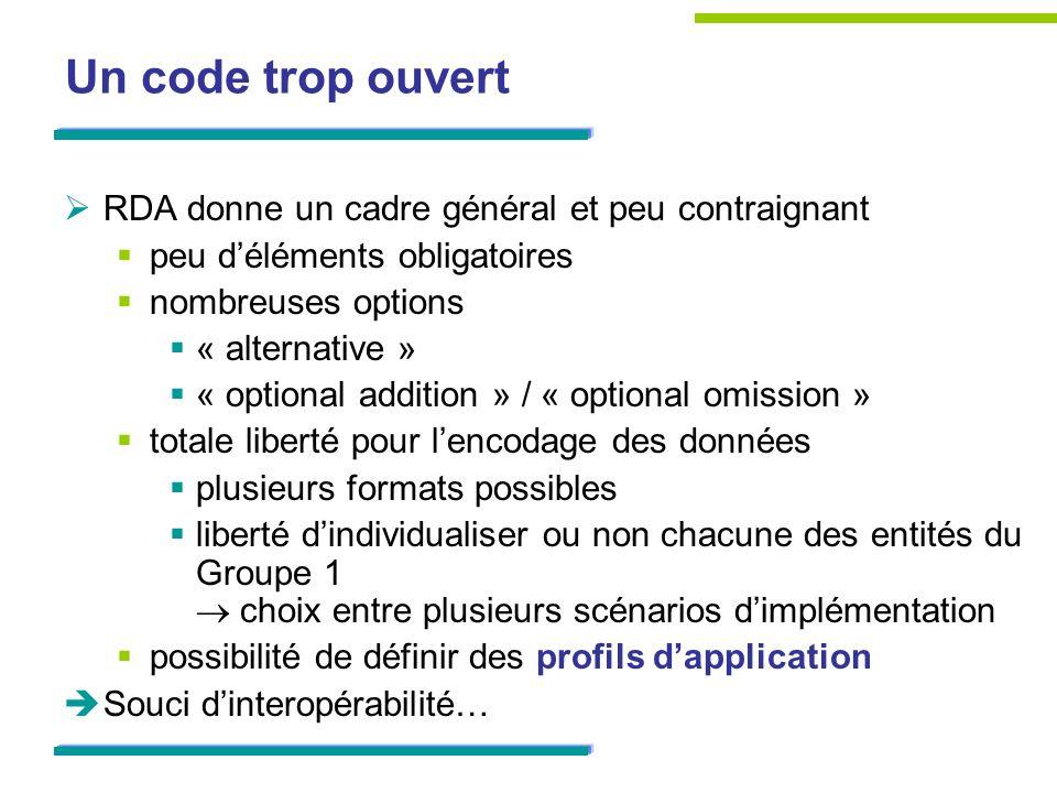 Un code trop ouvert RDA donne un cadre général et peu contraignant