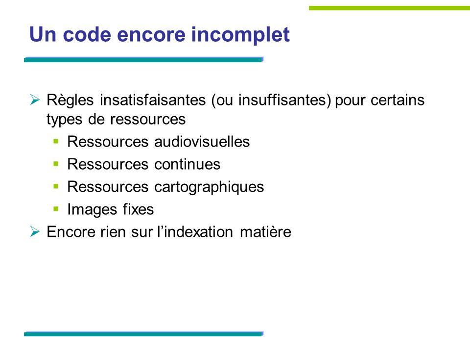 Un code encore incomplet
