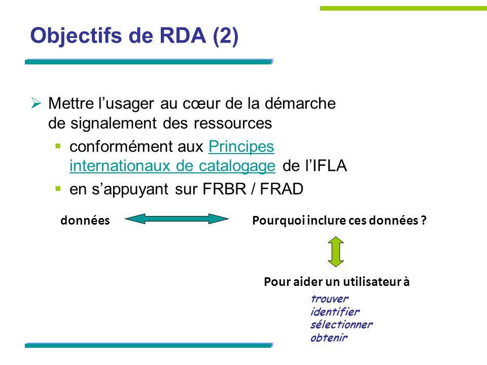 Objectifs de RDA (2) Mettre l'usager au cœur de la démarche de signalement des ressources.