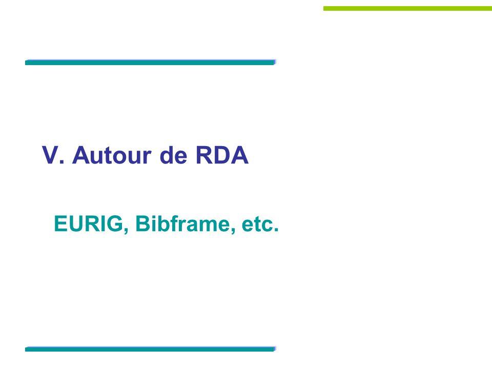 V. Autour de RDA EURIG, Bibframe, etc. 51