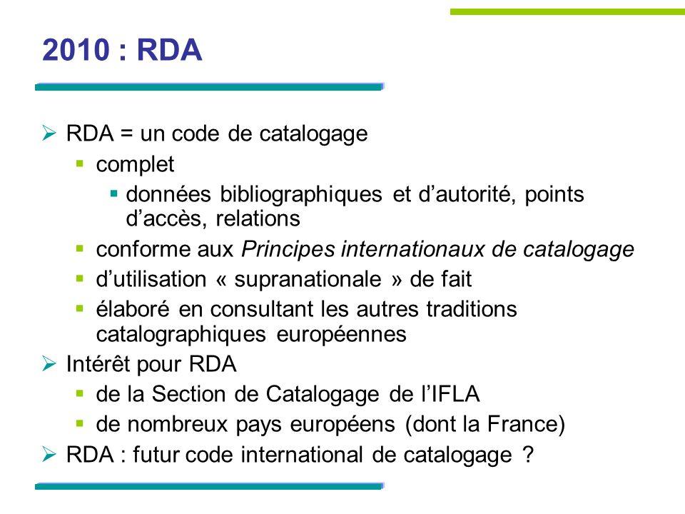 2010 : RDA RDA = un code de catalogage complet