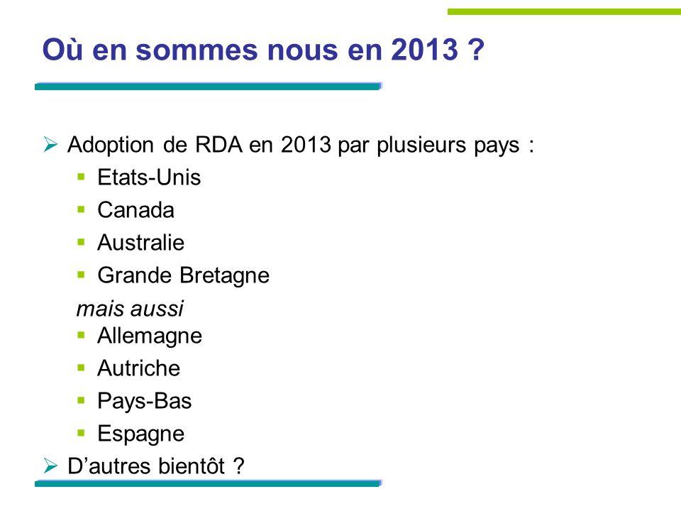 Où en sommes nous en 2013 Adoption de RDA en 2013 par plusieurs pays : Etats-Unis. Canada. Australie.