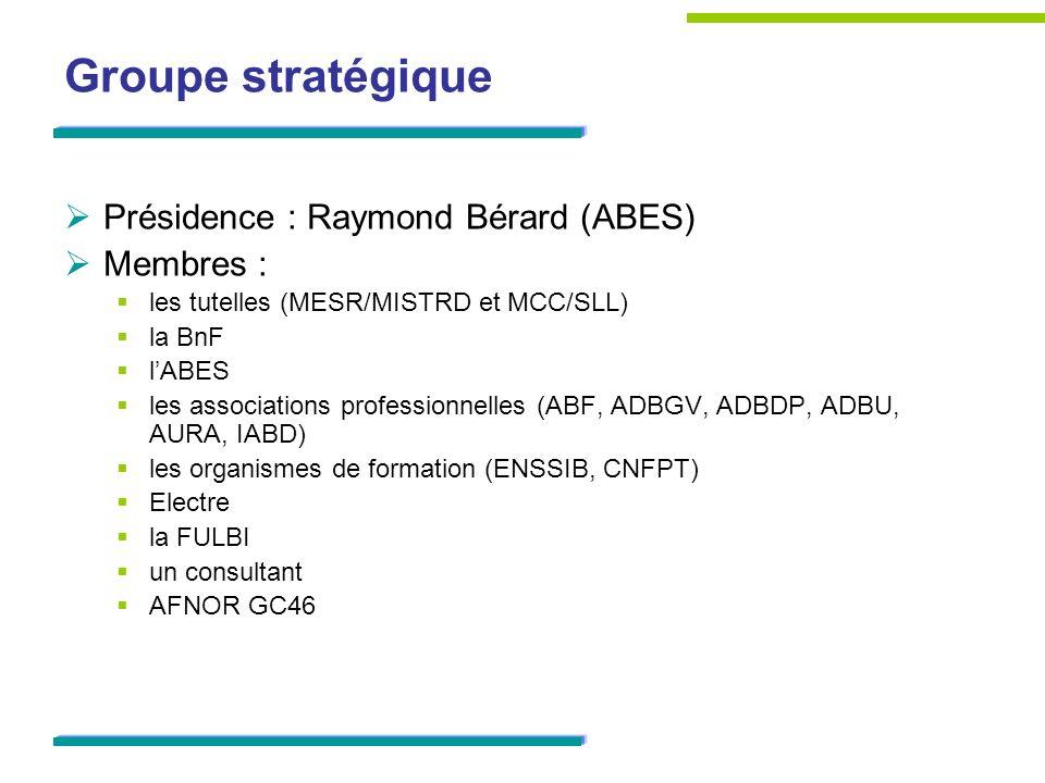 Groupe stratégique Présidence : Raymond Bérard (ABES) Membres :