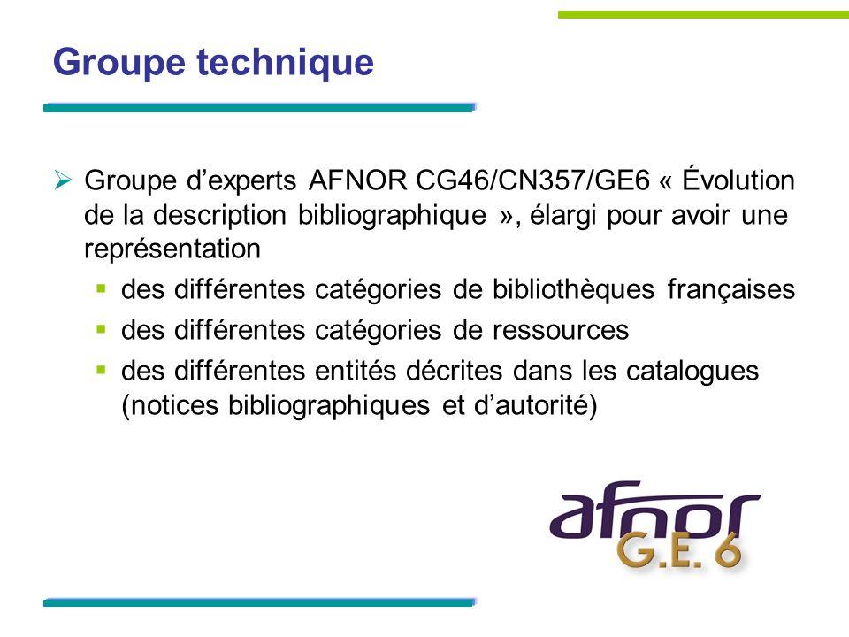 Groupe technique Groupe d'experts AFNOR CG46/CN357/GE6 « Évolution de la description bibliographique », élargi pour avoir une représentation.