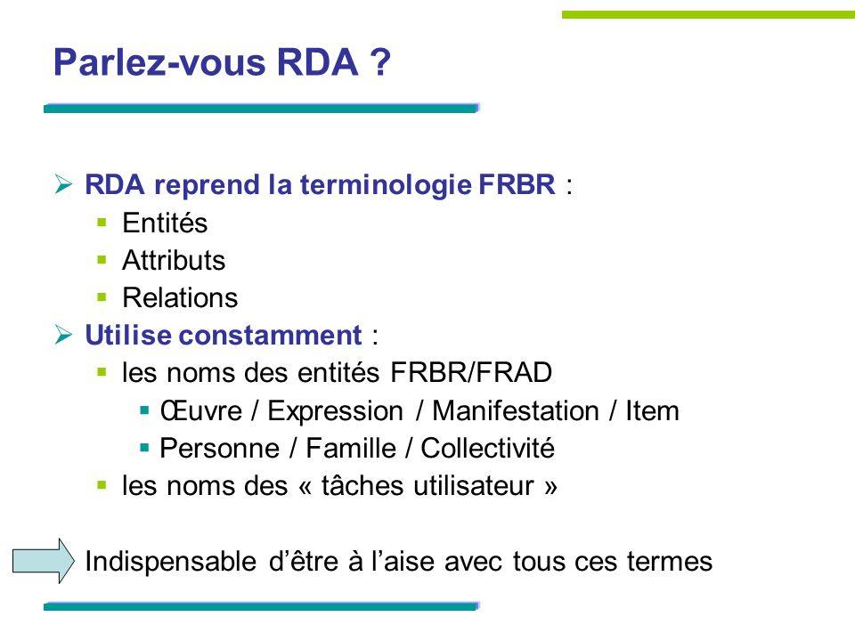 Parlez-vous RDA RDA reprend la terminologie FRBR : Entités Attributs