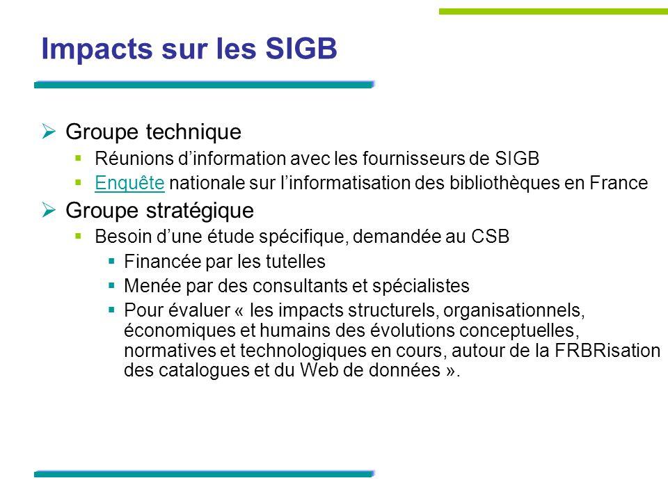 Impacts sur les SIGB Groupe technique Groupe stratégique