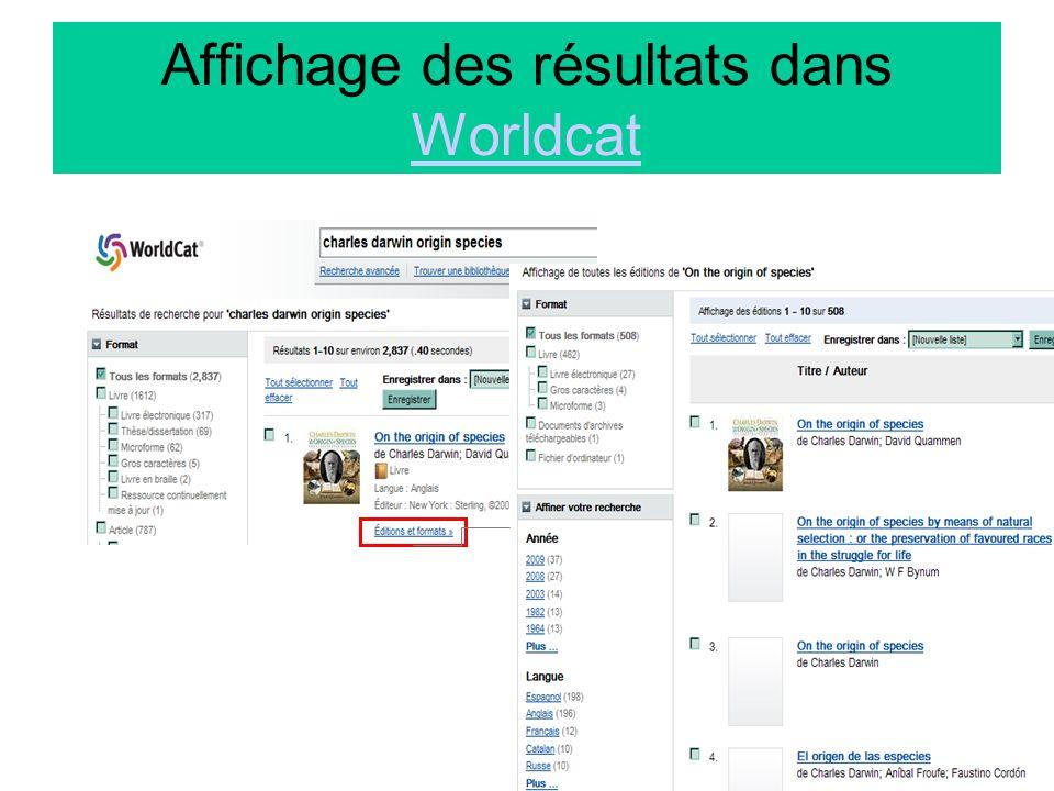 Affichage des résultats dans Worldcat