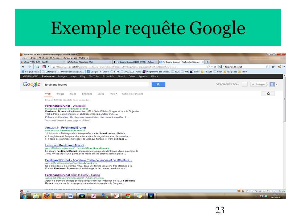 Exemple requête Google