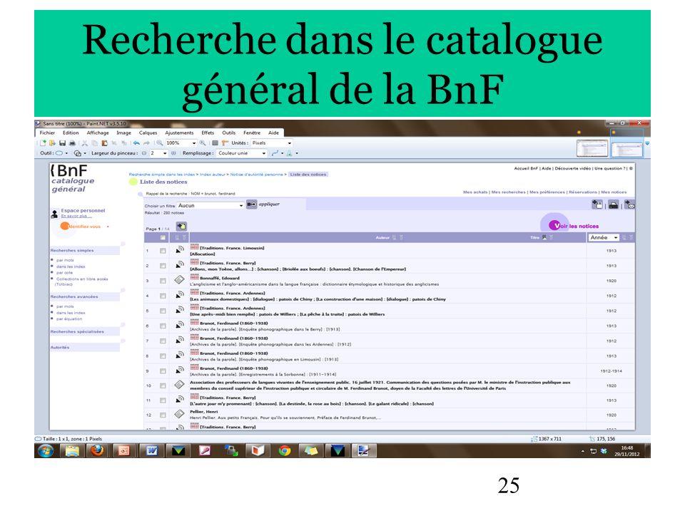 Recherche dans le catalogue général de la BnF