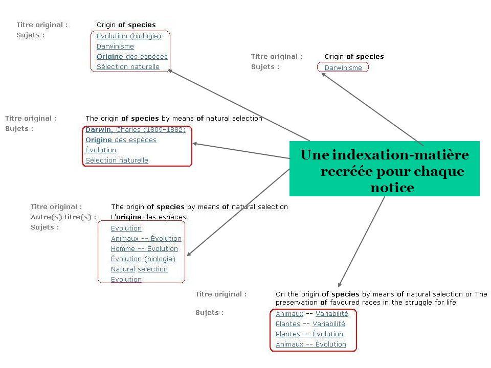 Une indexation-matière recréée pour chaque notice