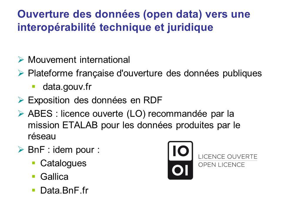 Ouverture des données (open data) vers une interopérabilité technique et juridique