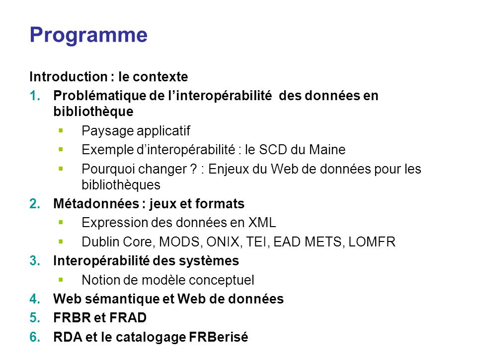 Programme Introduction : le contexte
