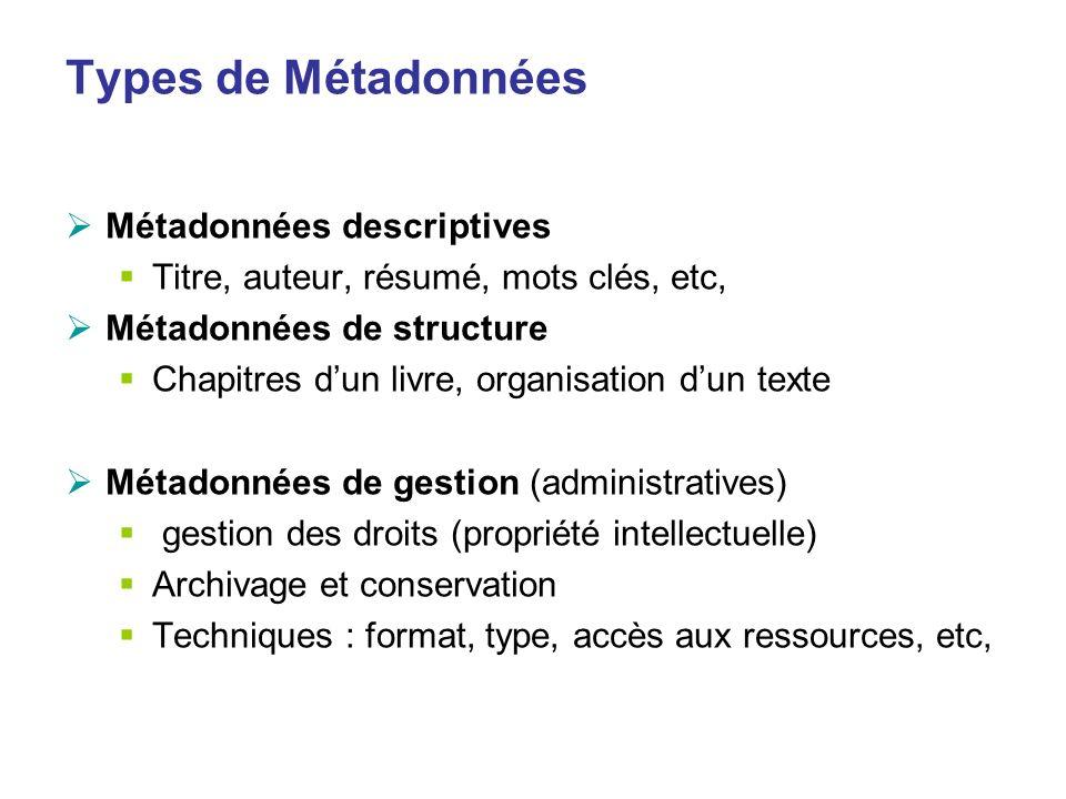 Types de Métadonnées Métadonnées descriptives