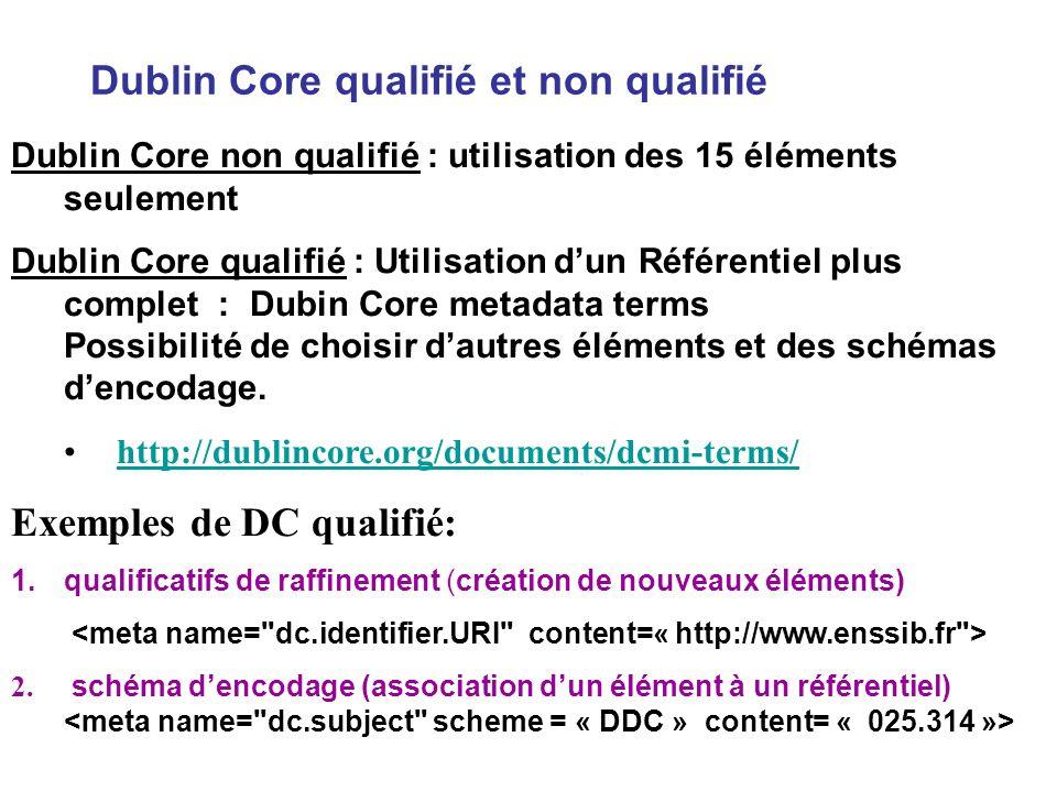 Dublin Core qualifié et non qualifié