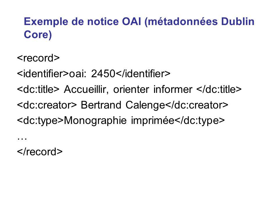 Exemple de notice OAI (métadonnées Dublin Core)