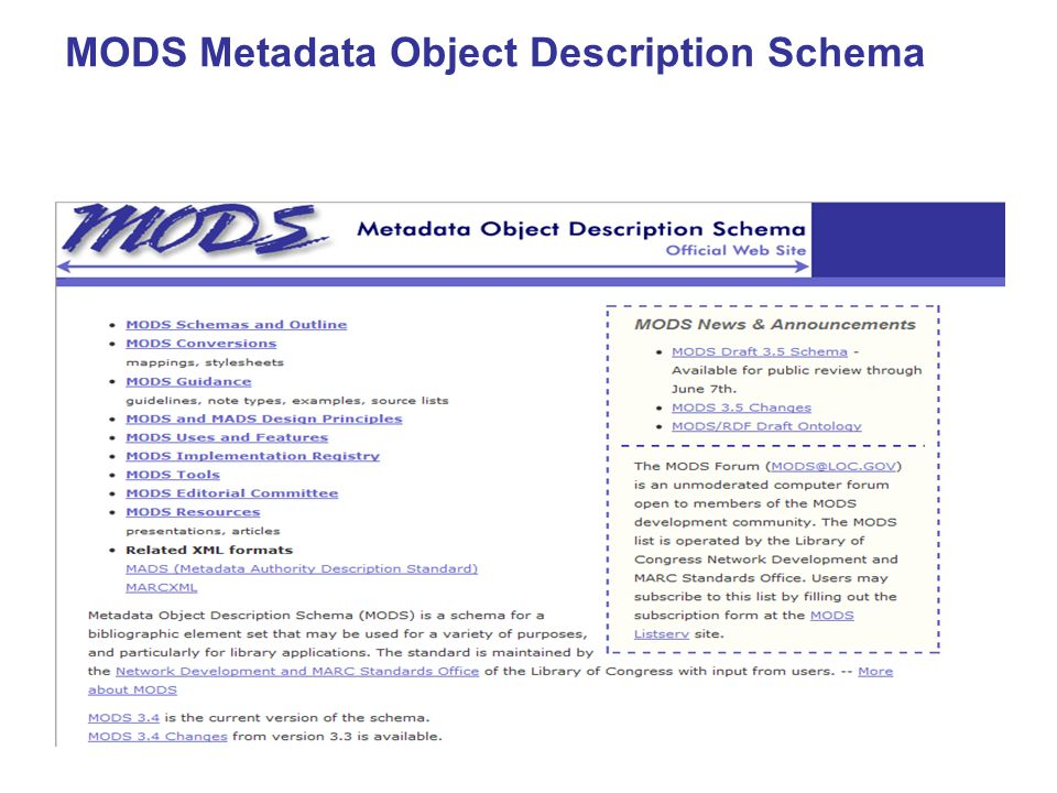 MODS Metadata Object Description Schema