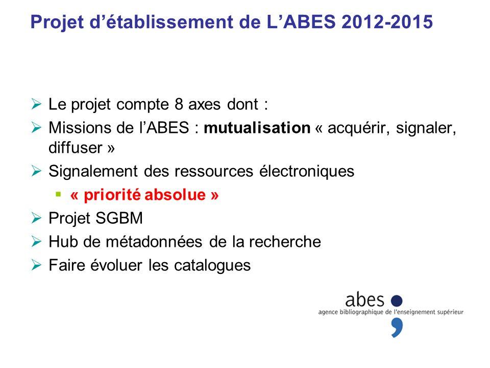 Projet d'établissement de L'ABES 2012-2015