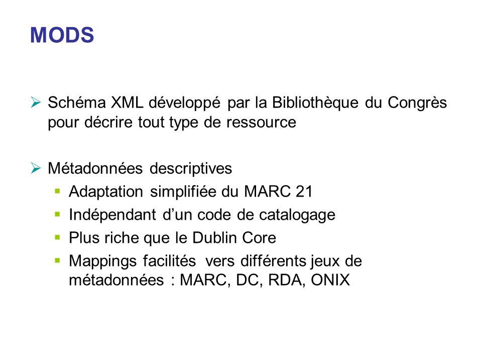 MODS Schéma XML développé par la Bibliothèque du Congrès pour décrire tout type de ressource. Métadonnées descriptives.