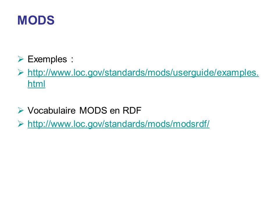 MODSExemples : http://www.loc.gov/standards/mods/userguide/examples.html. Vocabulaire MODS en RDF. http://www.loc.gov/standards/mods/modsrdf/