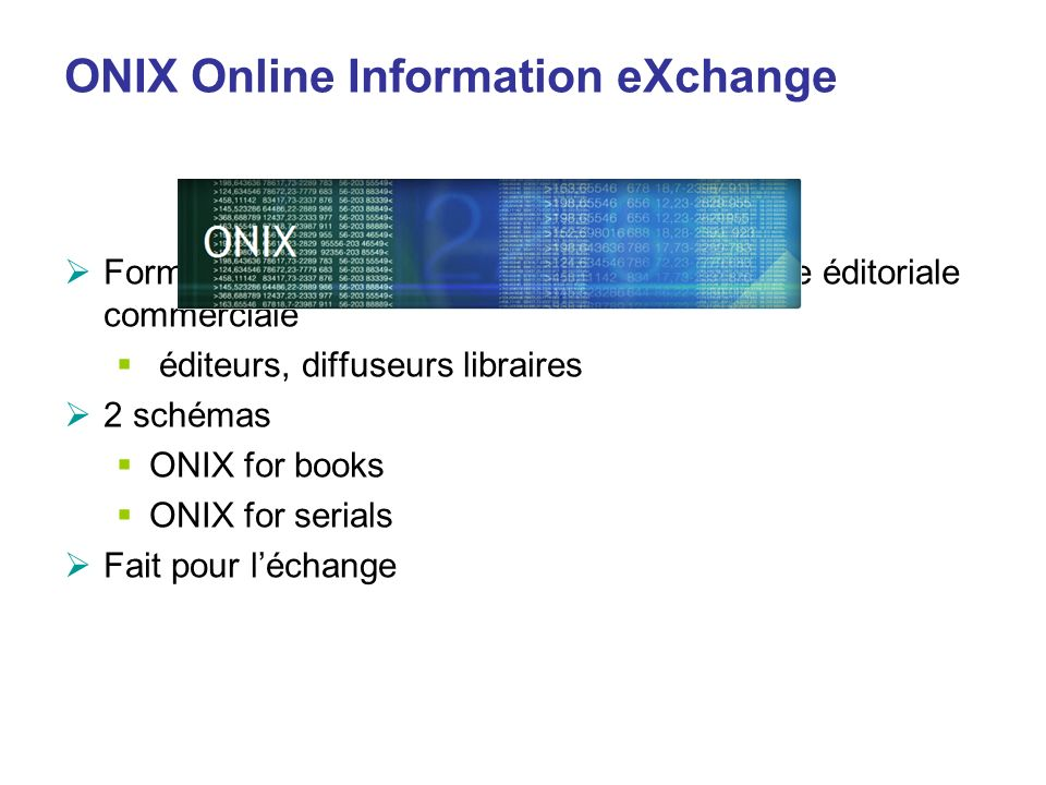 ONIX Online Information eXchange