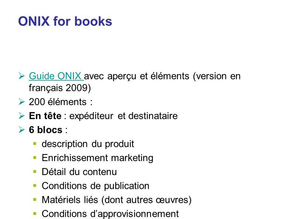 ONIX for books Guide ONIX avec aperçu et éléments (version en français 2009) 200 éléments : En tête : expéditeur et destinataire.